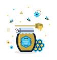 blue and golden hundred percent natural honey jar vector image vector image
