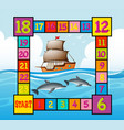 boardgame template with ocean scene vector image vector image