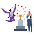 business success celebration people and prize on vector image vector image