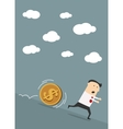 Businessman escapes from dollar coin vector image