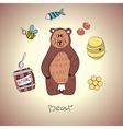cartoon bear and his food vector image