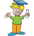 Cartoon Boy Holding a Diploma vector image vector image