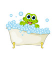 cartoon frog in foam bath isolated on white vector image