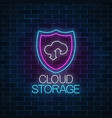cloud storage service glowing neon sign internet vector image vector image