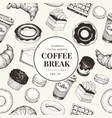 coffee break banner template dessert background vector image