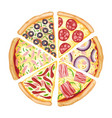 color pizza top view savoury pizza ads with 3d vector image vector image