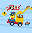 construction equipment cartoon with funny driver vector image