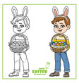 cute boy in rabbit ears and with baskets of vector image vector image