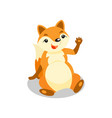 cute little fox sitting on the floor and waving vector image