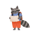 cute raccoon reading paper map going on trip or vector image