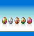 decorated easter eggs on a white background vector image vector image