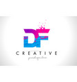 df d f letter logo with shattered broken blue vector image vector image