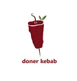 doner kebab with leaves vector image vector image