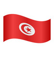 flag of tunisia waving on white background vector image