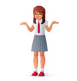 girl shrugging shoulders vector image