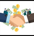 handshake of business team workers vector image vector image