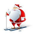 happy santa claus on ski vector image vector image