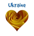 I love Ukraine silhouette of Ukraine with yellow vector image