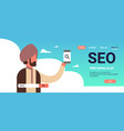 indian man using smartphone seo search engine vector image vector image