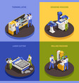 industrial machinery concept icons set vector image