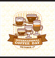 international coffee day card cute various vector image vector image