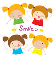 kids girl children smile happy cartoon character vector image