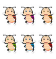 ladybug with different facial expressions vector image vector image