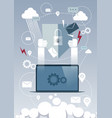 laptop computer device data protection cloud vector image vector image