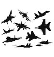 military aircrafts set vector image vector image
