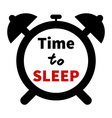 minimalistic of a clock with time for sleep text vector image vector image
