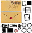 Old envelope and postage stamp set vector