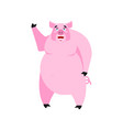 pig happy emoji piggy merry emotion on white vector image vector image