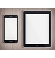 Realistic Tablet PC and Phone with white screen vector image
