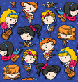 rockabilly girl band playing guitar on purple vector image vector image