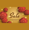 sale gold background with red paper flowers vector image vector image