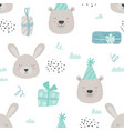 scandinavian teddy animals seamless pattern baby vector image