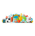 school banner with education items vector image vector image