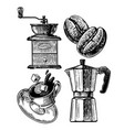 Set coffee themes cup grinder coffee beans