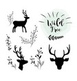 set deer wild animal with branches icons vector image vector image