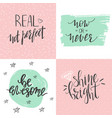 set motivational posters with hand lwttered vector image