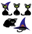 Set of black cats in various poses Halloween vector image vector image