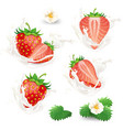 set of whole and half strawberries with vector image vector image