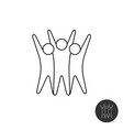 three happy motivated people line style symbol vector image