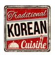 traditional korean cuisine vintage rusty metal vector image vector image