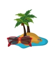 tropical island and sunglasses icon vector image vector image