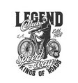 tshirt print with racer riding retro off road bike vector image vector image