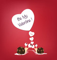 Valentine snails with hearts greeting vector image vector image