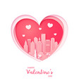 valentines card paper cut heart and miami vector image vector image
