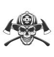 vintage fireman skull in firefighter helmet vector image vector image