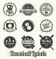 vintage quality baseball labels vector image